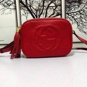 💖Gucci Soho Leather Disco bag Red bag